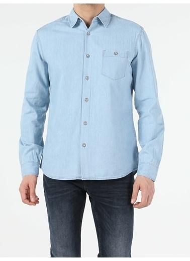 Colin's Denim Slim Fit Klasik Denim Erkek Uzun Kol Gömlek Renkli